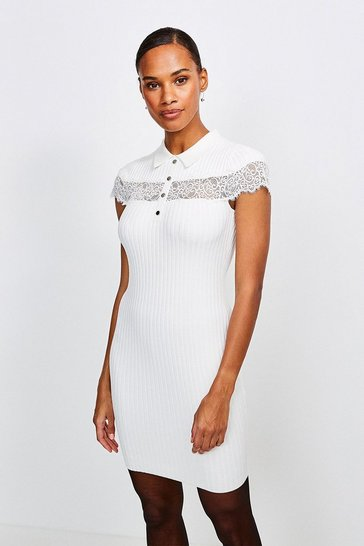 Ivory Lace Insert Collared Knit Dress