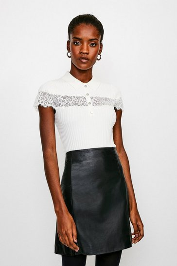 Ivory Lace Insert Collared Knit Top