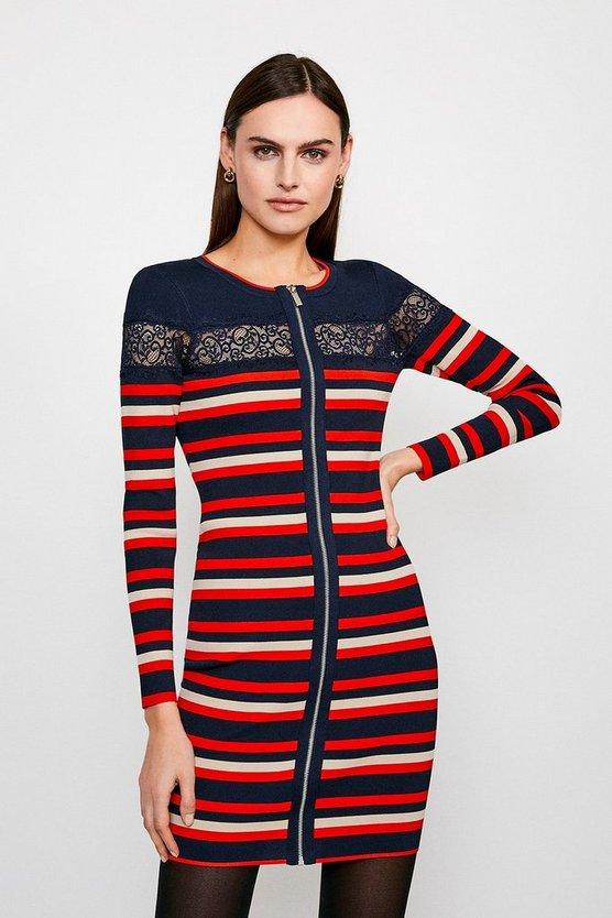 Orange Lace insert Knitted Dress