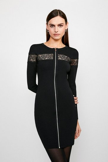 Black Lace Insert Knitted Dress