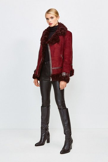 Wine Shearling Aviator Coat