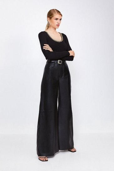 Black Leather Wide Leg Trouser