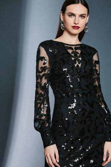 Black Backless Sequin Embellished Dress