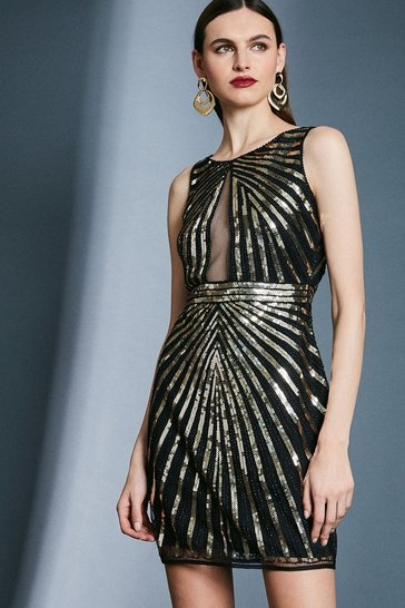 Gold Linear Sequin Dress