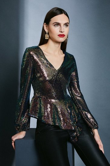 Black Sequin Peplum Wrap Front Top