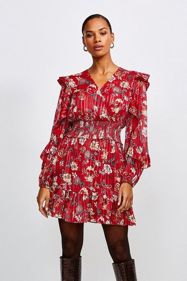 Burgundy Paisley Print Shirred Waist Short Dress