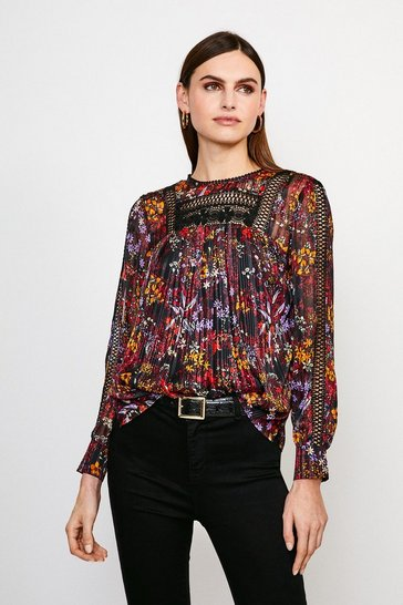 Black Floral Print Lace Insert Top
