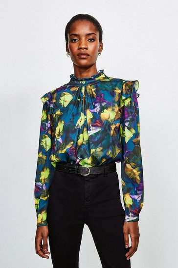 Green Neon Rose Long Sleeve Blouse