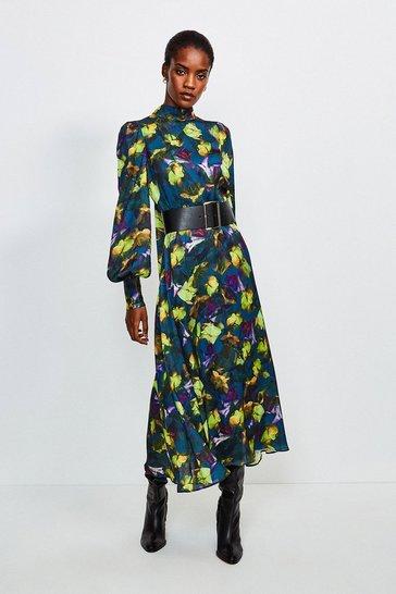 Green Neon Rose Midi Dress