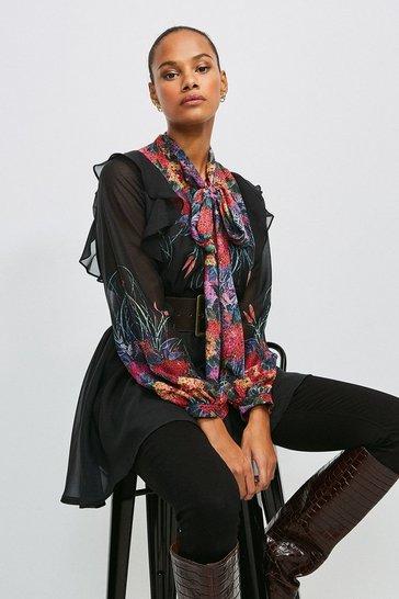 Black Bold Floral Tie Neck Tunic