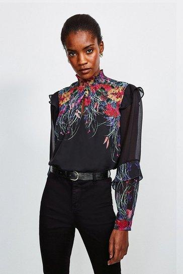Black Bold Floral High Neck Blouse