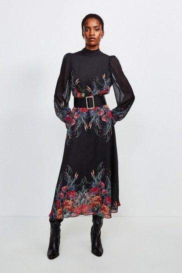 Black Bold Floral Midi Dress