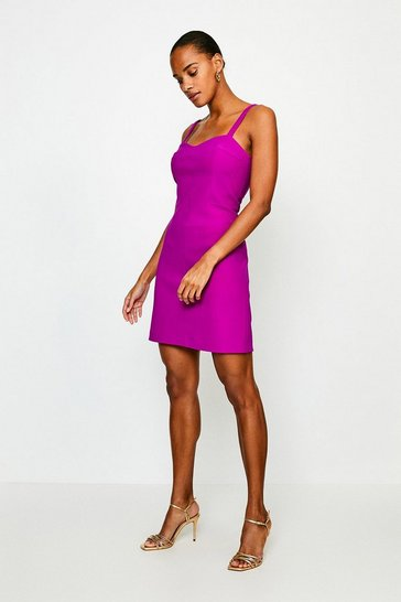 Purple Scuba Crepe Strappy Dress