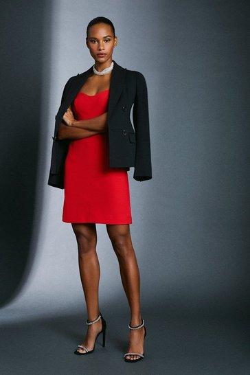 Red Scuba Crepe Strappy Dress