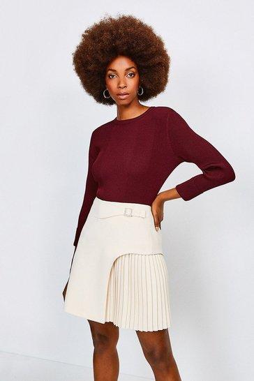Cream Buckle Detail Pleated Mini Skirt