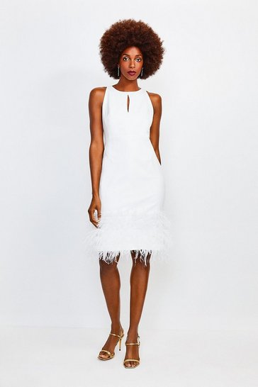 Ivory Feather Hem Halter Neck Dress