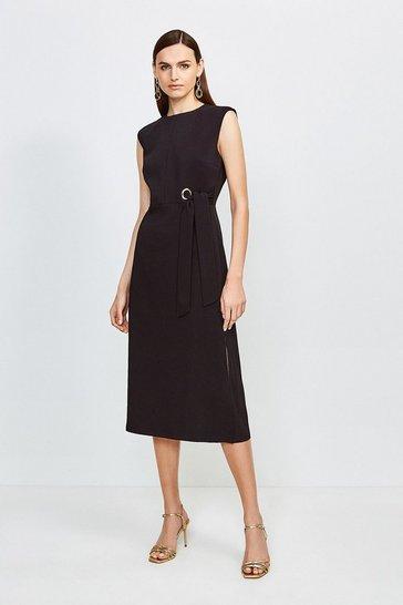 Black Eyelet Detail Midi Dress