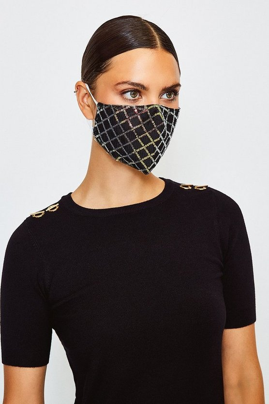 Black Checked Sequin Fashion Face Mask