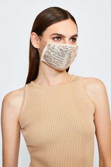 Gold Fashion Sequin Face Mask