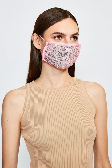 Pink Fashion Sequin Face Mask
