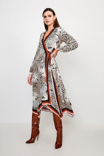 Leopard Border Print Wrap Dress