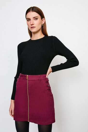 Wine Stretch Twill Front Zip Button Skirt
