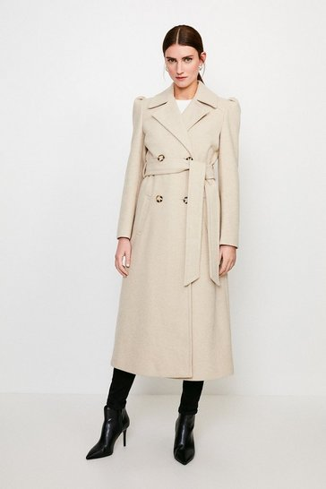 Nude Belted Military Coat