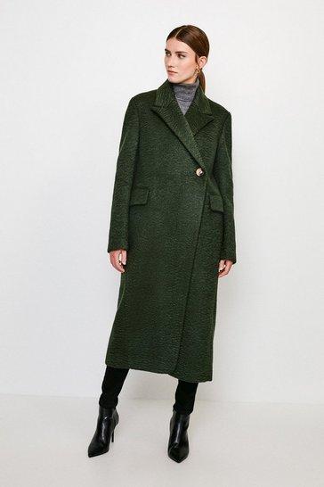 Green Texture Asymmetric Button Wrap Coat