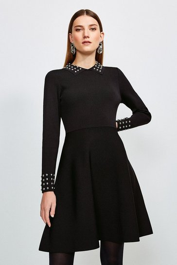 Black Studded Collar Knit Dress
