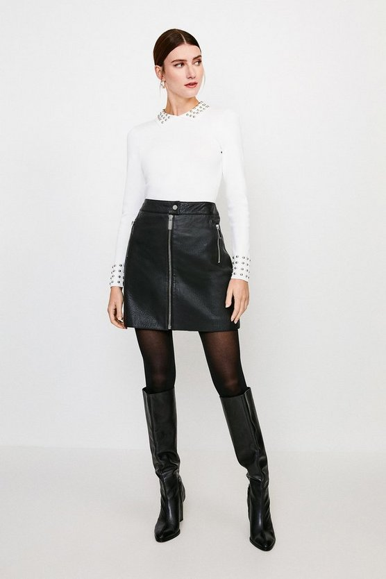 Ivory Studded Collar Knit Top