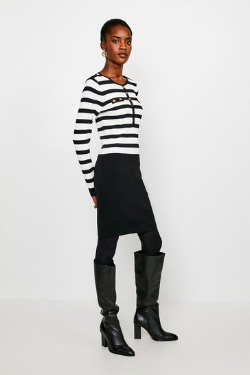 Blackwhite Stripe Button Front Knitted Dress