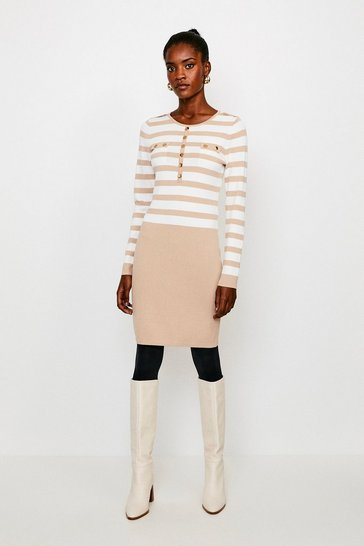 Ivory Stripe Button Front Knitted Dress
