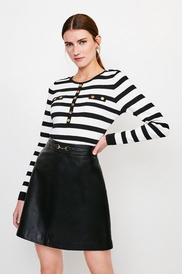 Blackwhite Stripe Button Front Knitted Top
