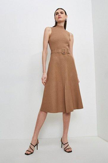 Camel Knit Belted Midi Dress