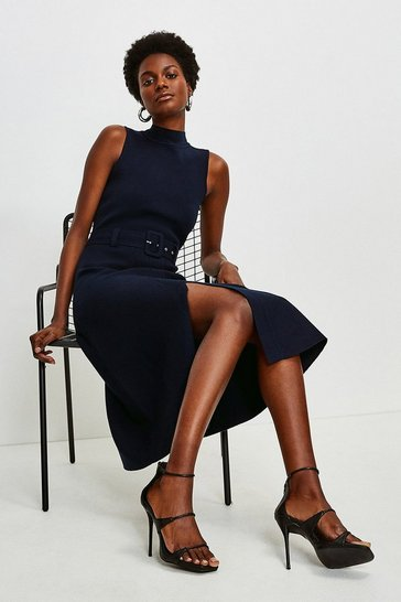 Navy Knit Belted Midi Dress