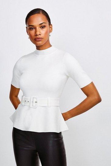Ivory Knit Peplum Belted Top