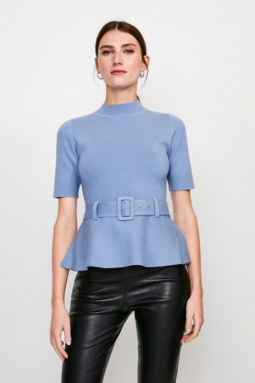 Mid blue Knit Peplum Belted Top