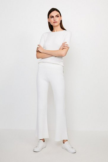 Ivory Knitted Flare Trouser