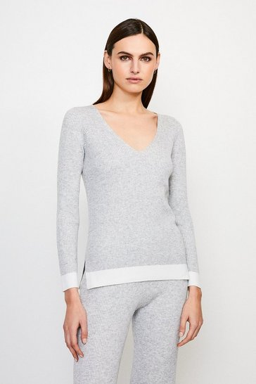 Grey V Neck Knitted Jumper
