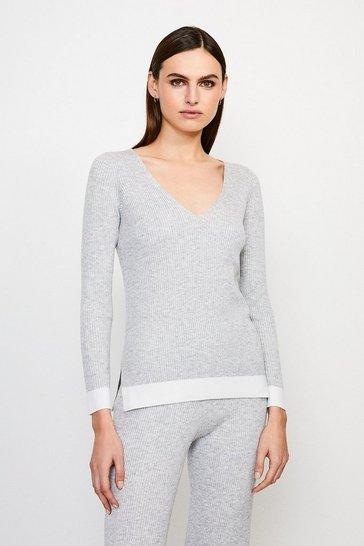 Grey V Neck Knitted Jumper