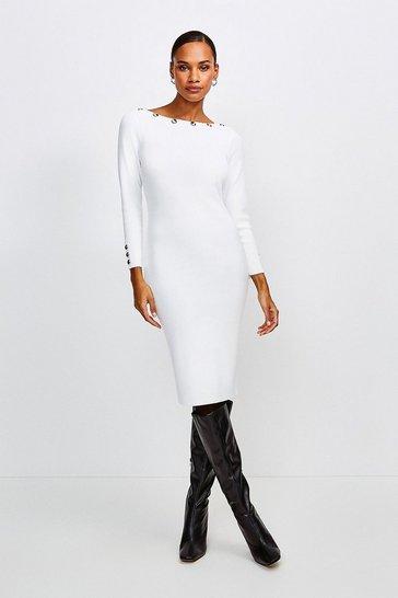 Ivory Rivet Trim Slash Neck Dress