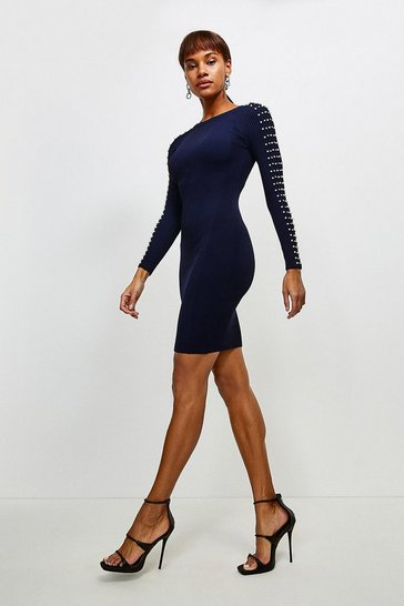 Navy Sparkle Trim Sleeve Knitted Rib Dress