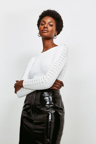 Ivory Sparkle Trim Sleeve Knitted Rib Top