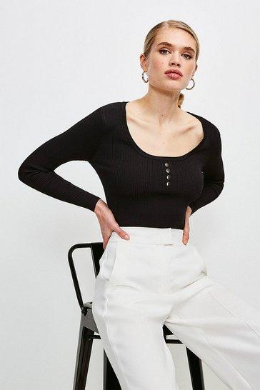 Black Knitted Rib Rivet Front Long Sleeve Top
