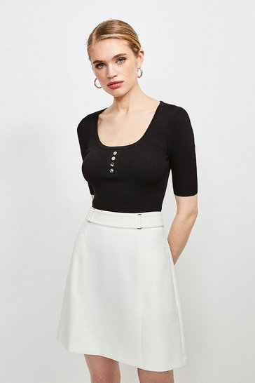 Black Knitted Rib Rivet Front Short Sleeve Top