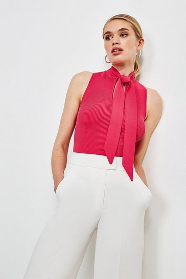 Hot pink Knitted Rib Tie Neck Top