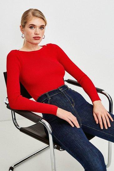 Red Knitted Rib Rivet Slash Neck Top