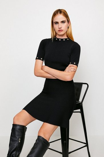 Black Short Sleeve Eyelet Skater Dress