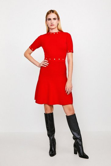 Red Short Sleeve Eyelet Skater Dress
