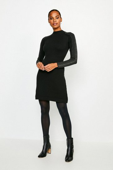 Black Hot Fix Stud Dress